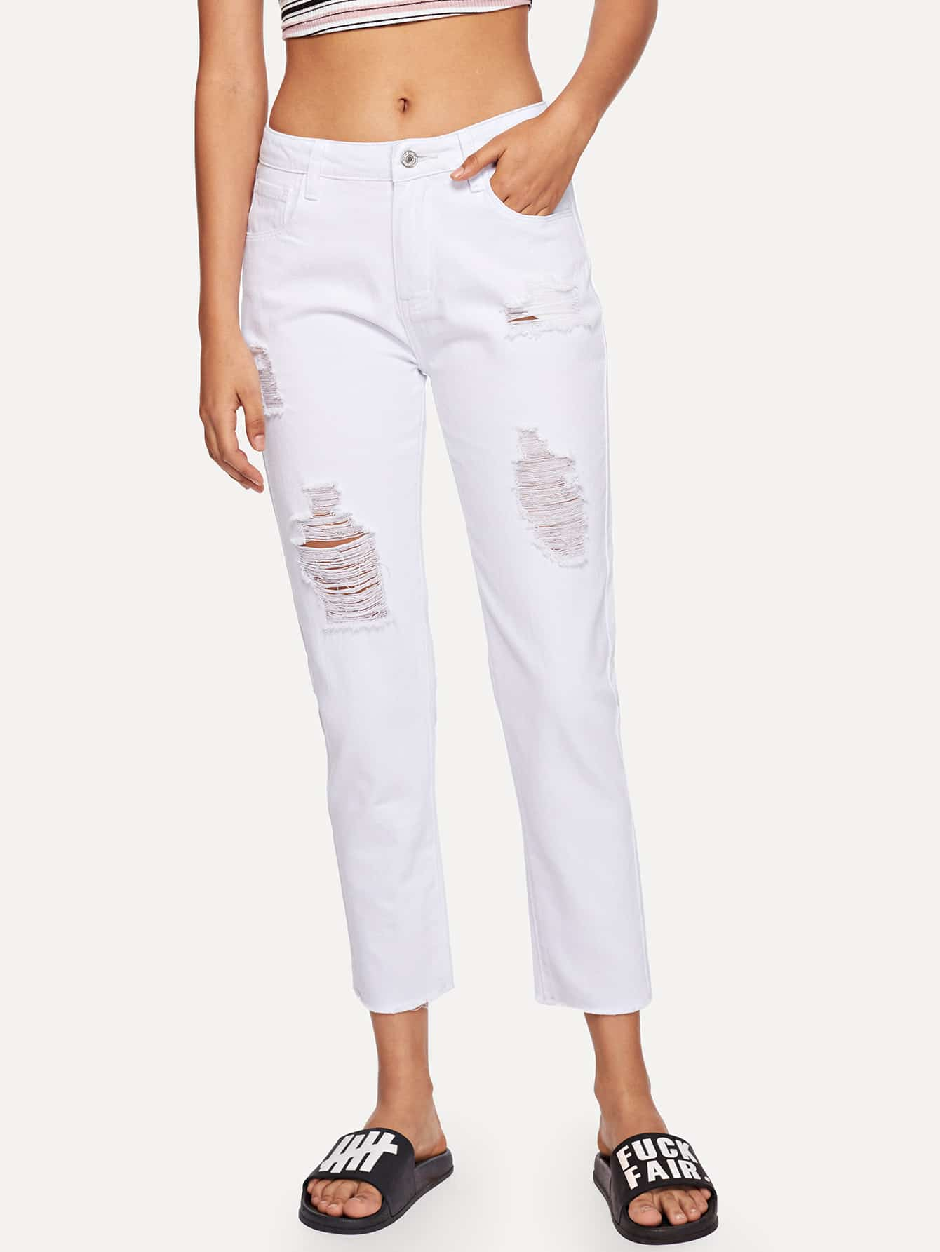 Купить Raw Hem Ripped Jeans, Starl Lane, SheIn