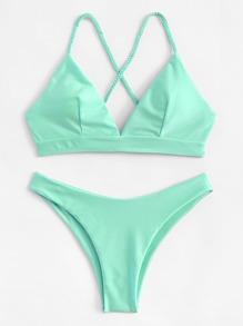 Lace Up Back Triangle Bikini Set