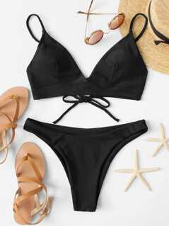 Lace Up Back Top With High Leg Bikini Set