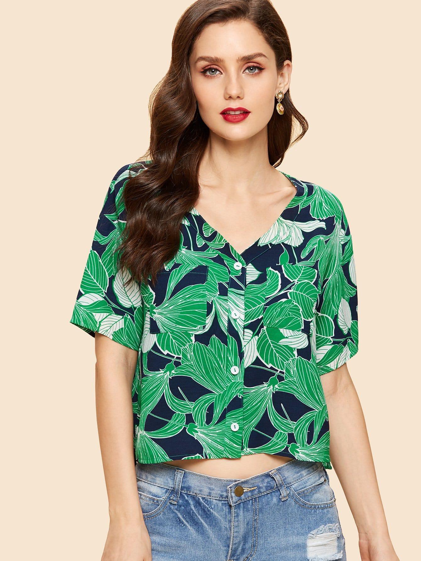 Palm Leaf Print High Low Shirt все цены