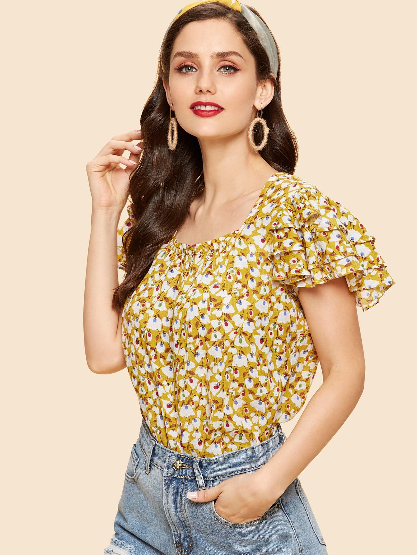 Layered Sleeve Floral Print Top layered sleeve floral top