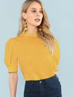 Button Keyhole Back Puff Sleeve Top