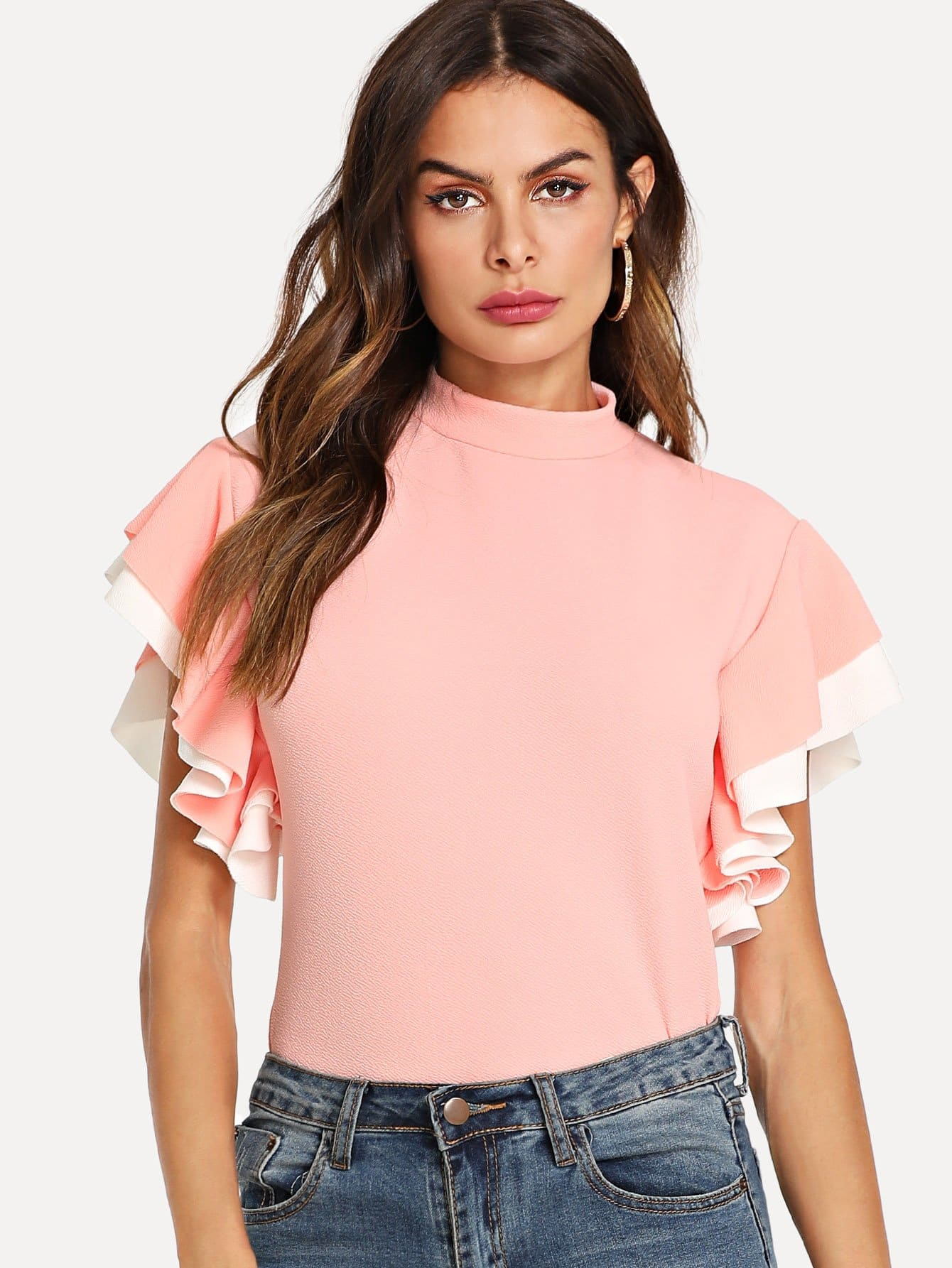Mock Neck Layered Flutter Sleeve Top