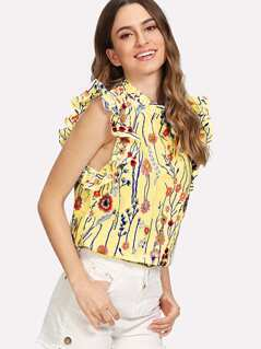 Frilled Collar and Armhole Botanical Top