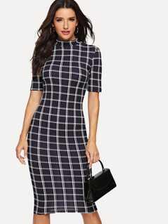 Mock Neck Grid Pencil Dress