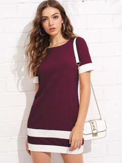 Color Block Stripe Shift Dress