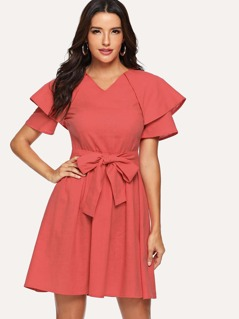 Cloak Sleeve Bow Tie Waist Dress