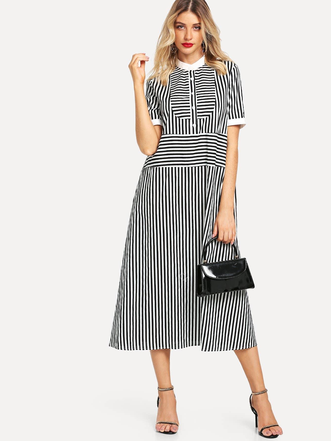 Mock Neck Button Front Tie Waist Striped Dress цена 2017