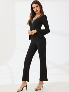 eaaef17933cd Bell Sleeve Contrast Striped Rib Knit Jumpsuit
