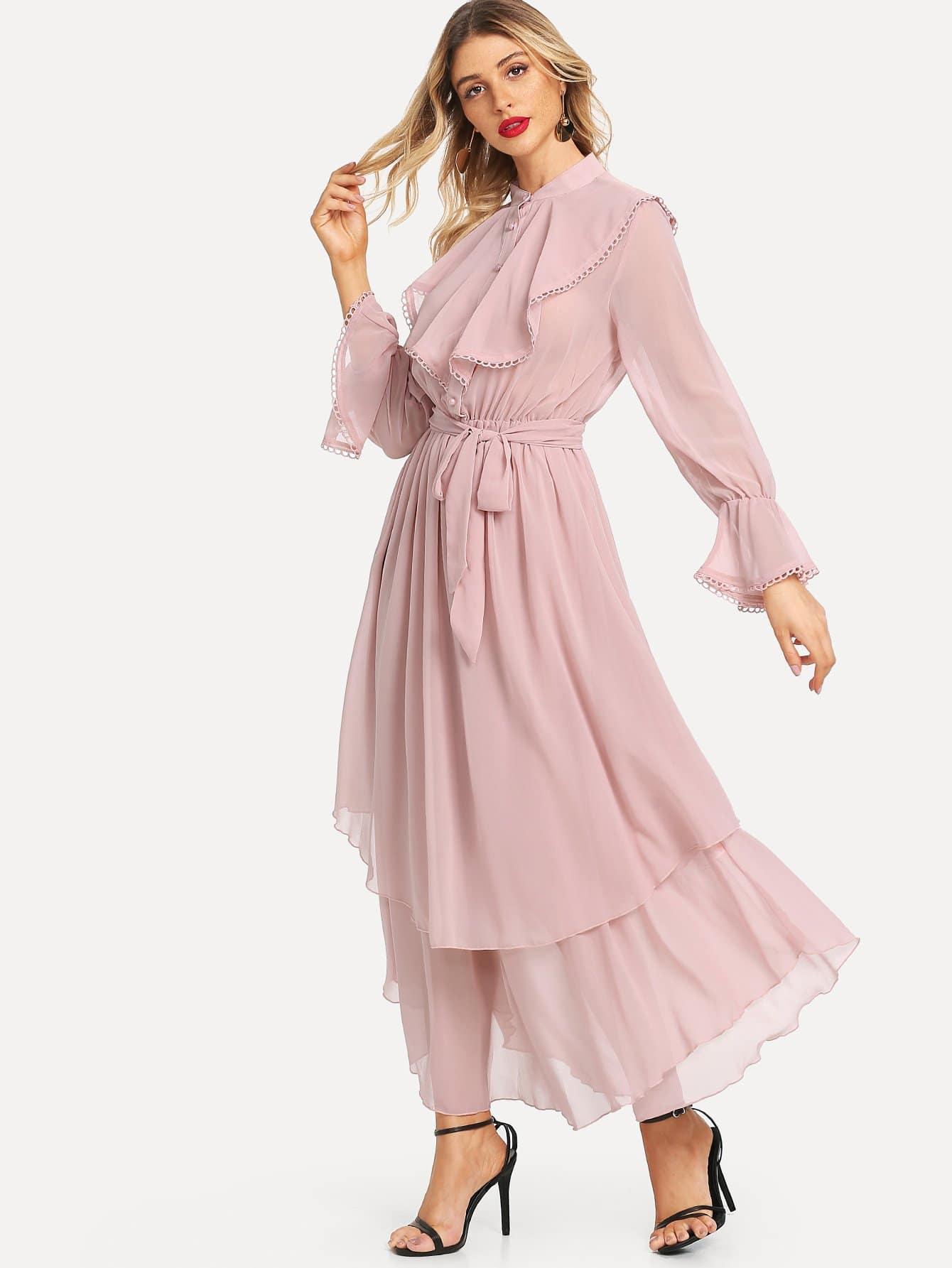 Купить Ruffle Detail Вязание крючком Trim Flowy Dress, Nathane, SheIn