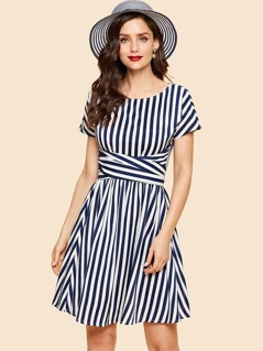 Zip Back Belted Striped Print Dress