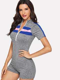 Zip Front Raglan Sleeve Colorblock Heathered Knit Romper