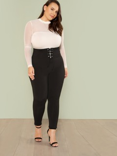 Plus Lace Up Wide Waistband Leggings