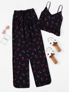 Cherry Print Ruffle Cami & Pants PJ Set