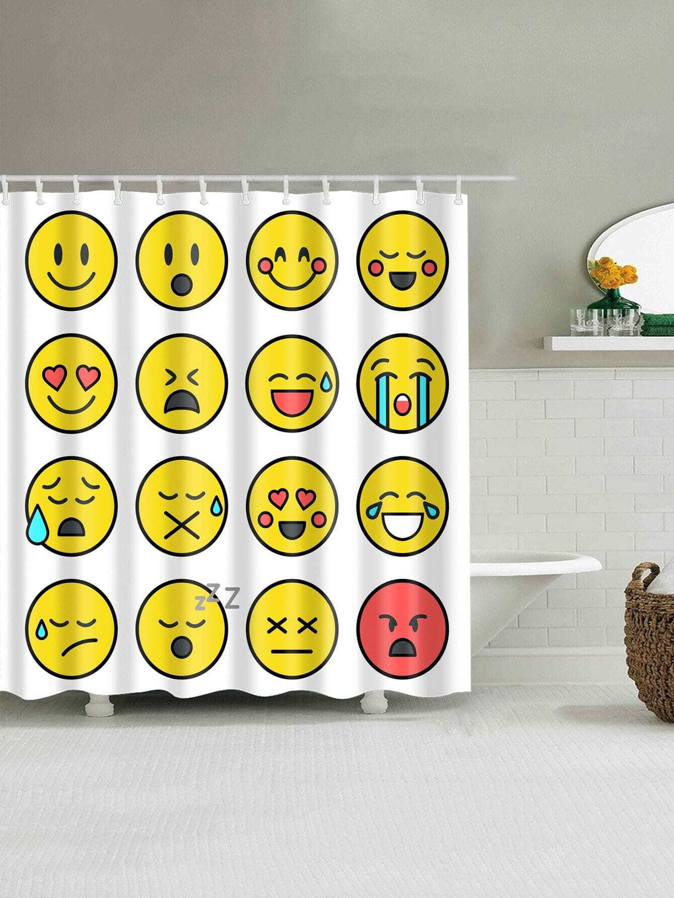 Emoticon Shower Curtain With 12pcs Hook geometric shower curtain with 12pcs hook