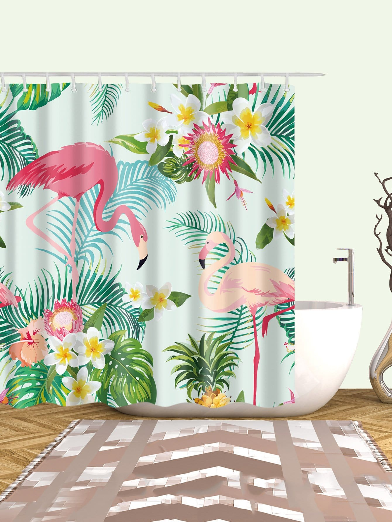 Flamingos Shower Curtain With 12pcs Hook geometric shower curtain with 12pcs hook