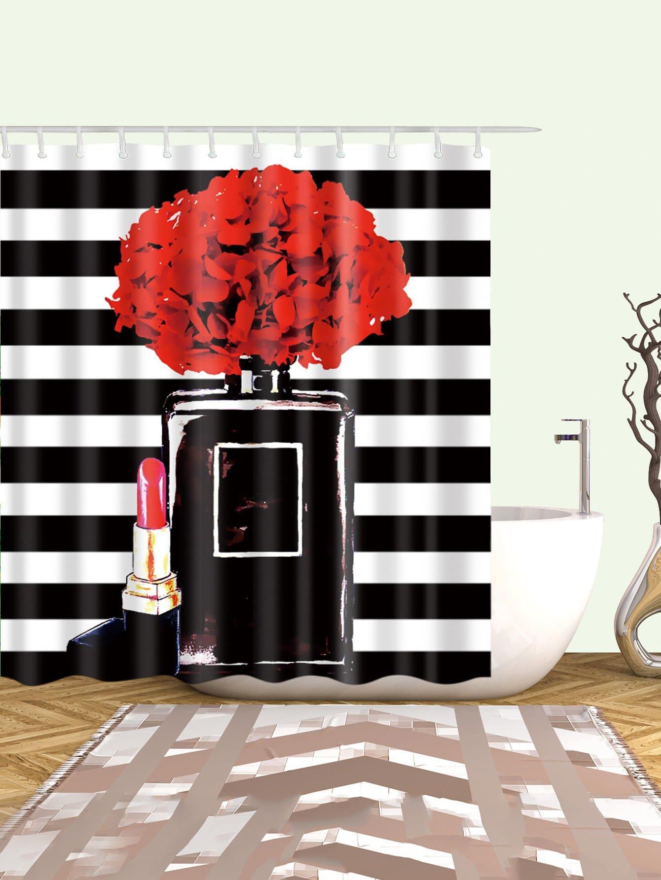 Rouge à lèvres Rideau de Douche Avec 12pcs Crochet
