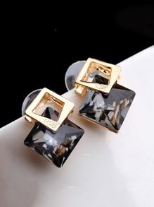 Square Shaped Gemstone Stud Earrings