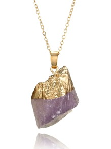 Nature Stone Pendant Necklace Random Shaped