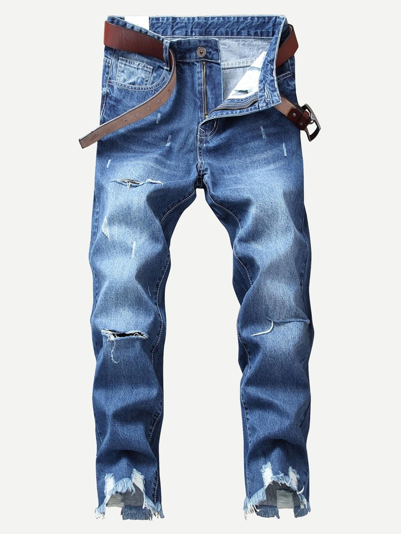 Men Distress Ripped Crop Straight Jeans, Blue