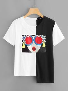 Fringe Detail Asymmetric Hem T-shirt