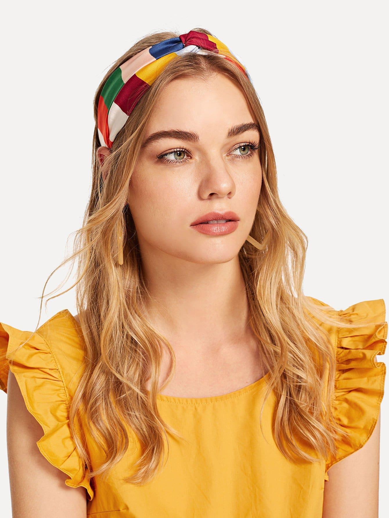 Купить Цветный полосатый ободок и полоска для волос 2 шт, null, SheIn