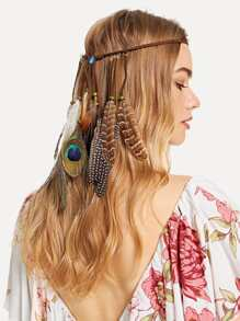 Feather Charm Woven Hair Accessories