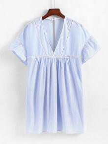 Lace Panel Striped Babydoll Dress
