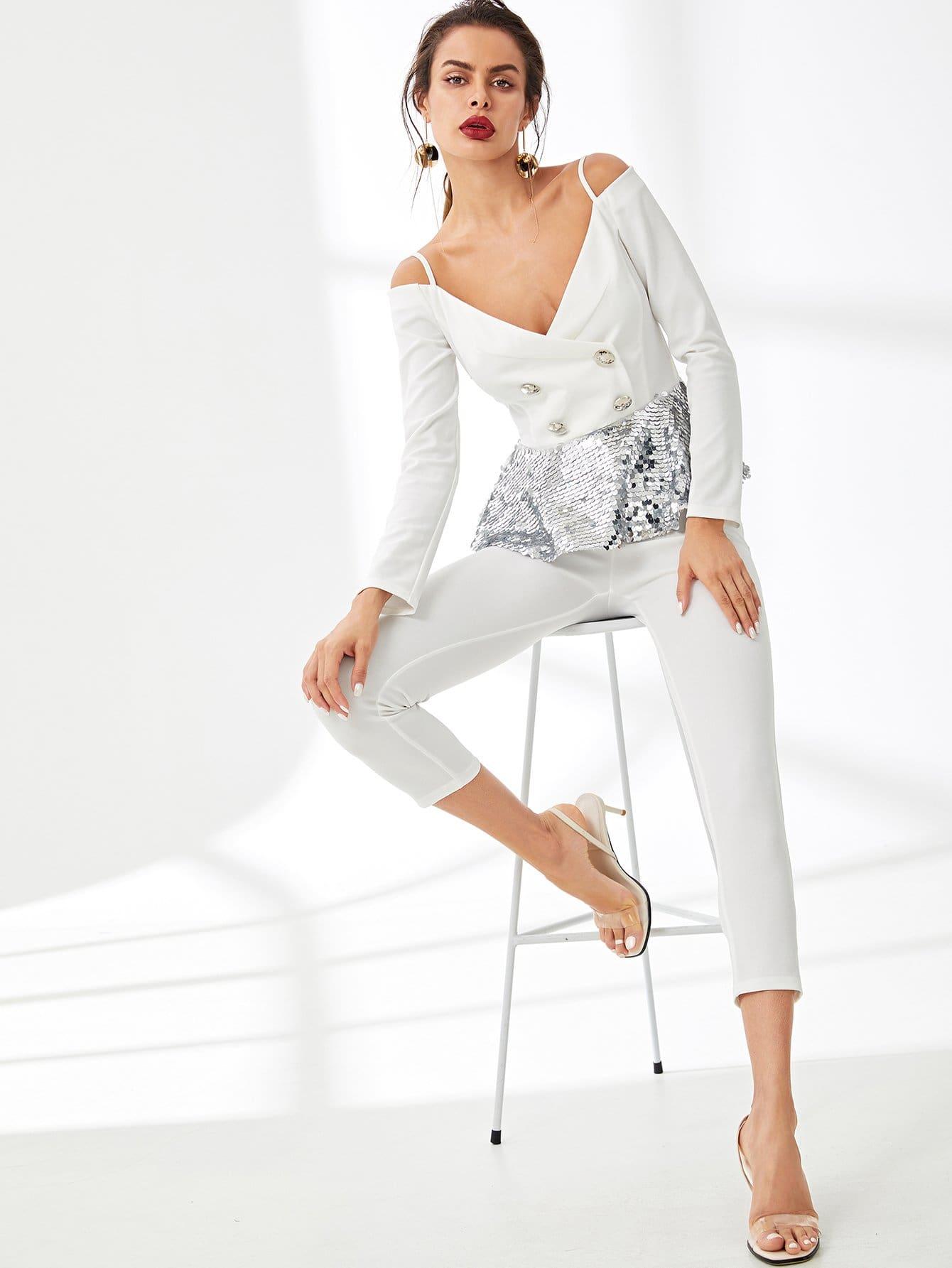 Купить Холодный наплеч Sequin Peplum Top & Pants Set, Andy, SheIn