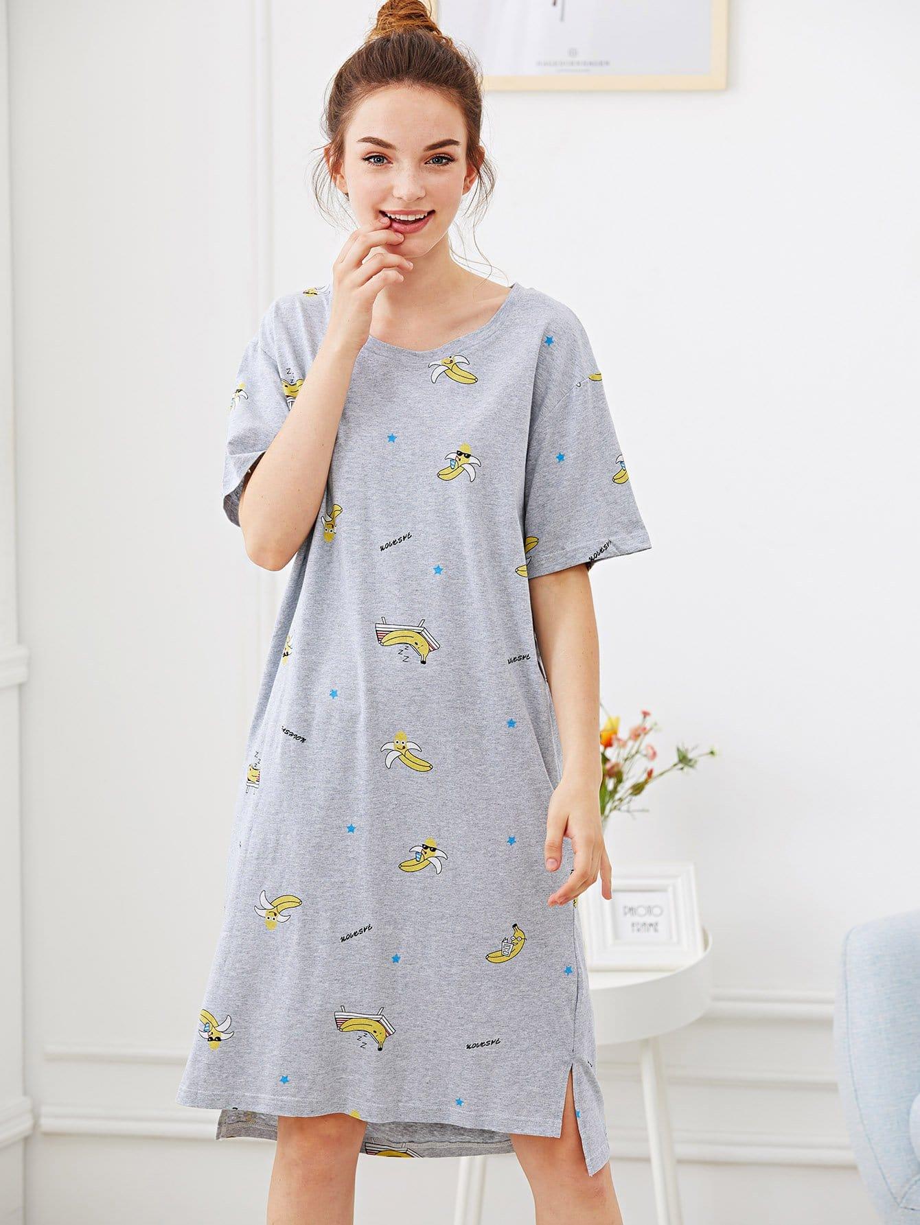 Banana & Letter Print Night Dress