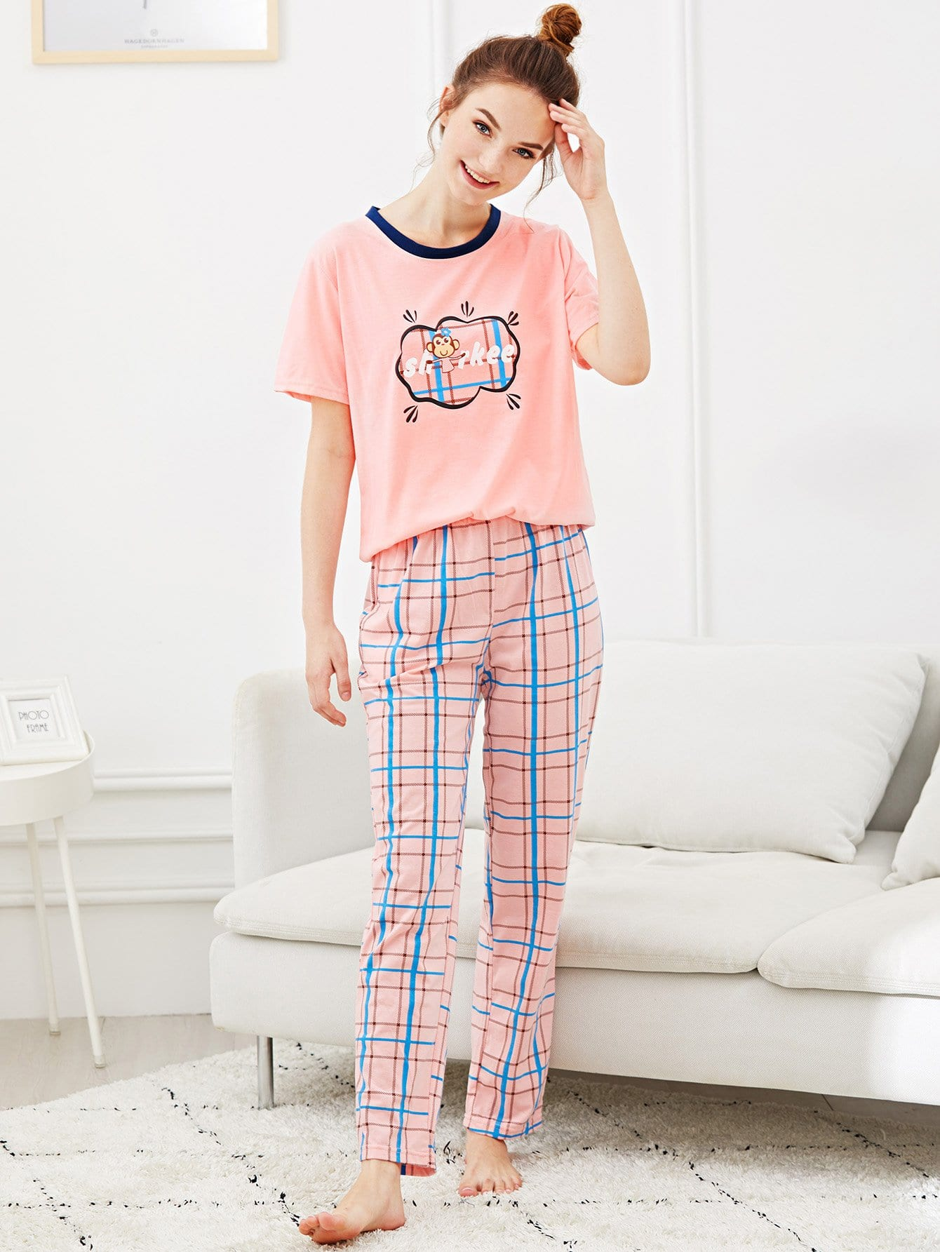 Monkey Print Plaid Pajama Set