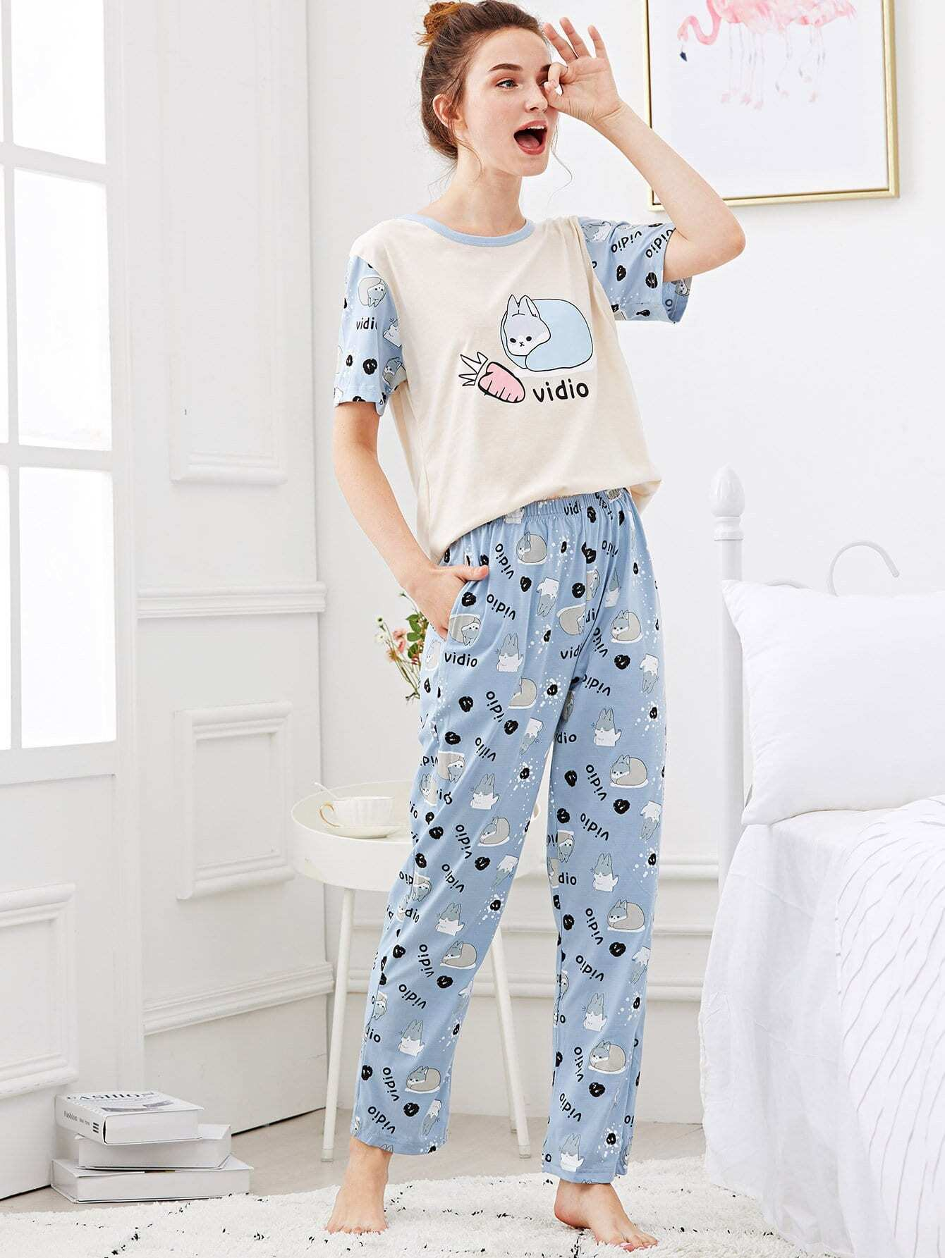 Rabbit & Letter Print Pajama Set