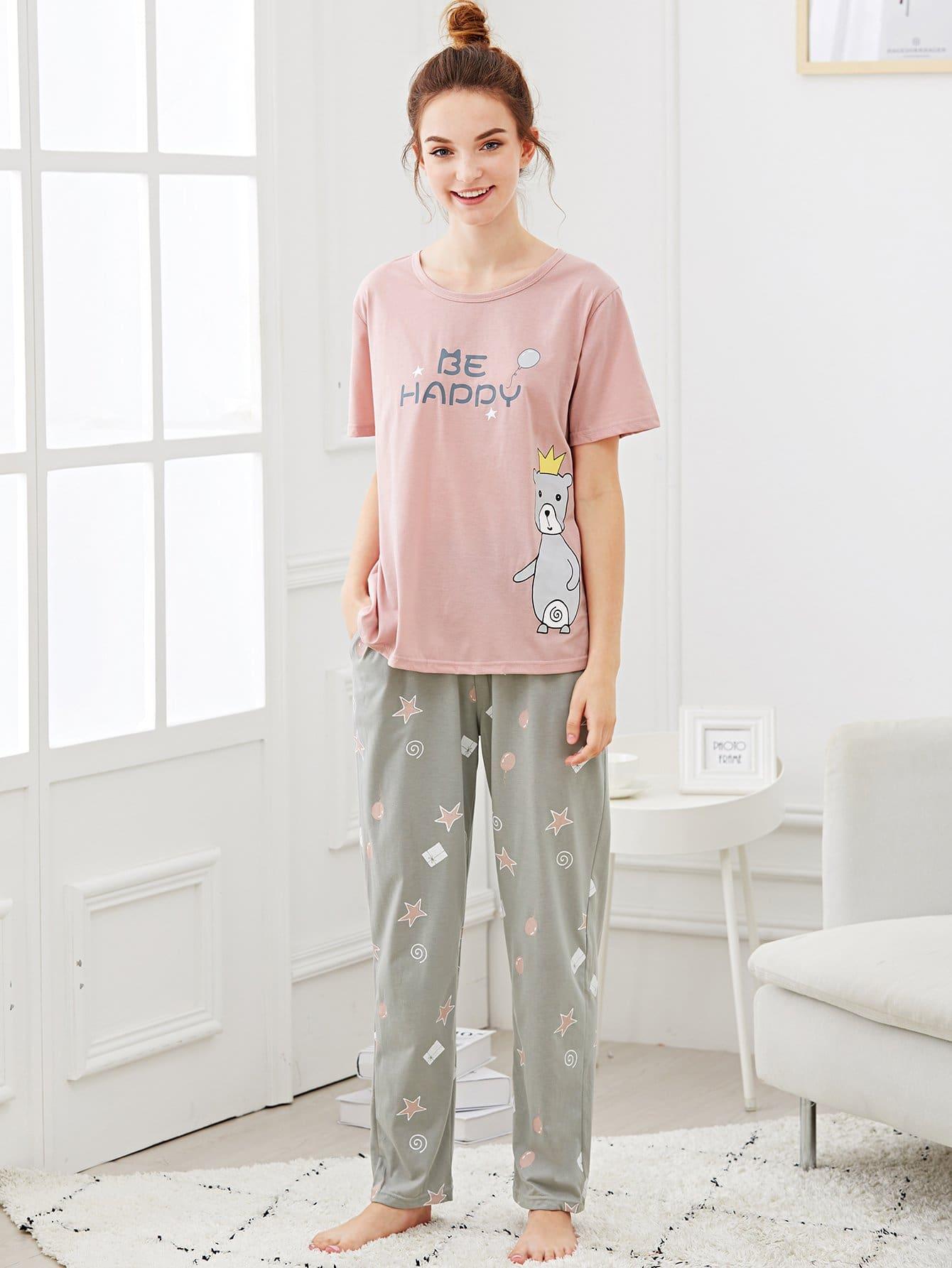Bear & Letter Print Pajama Set