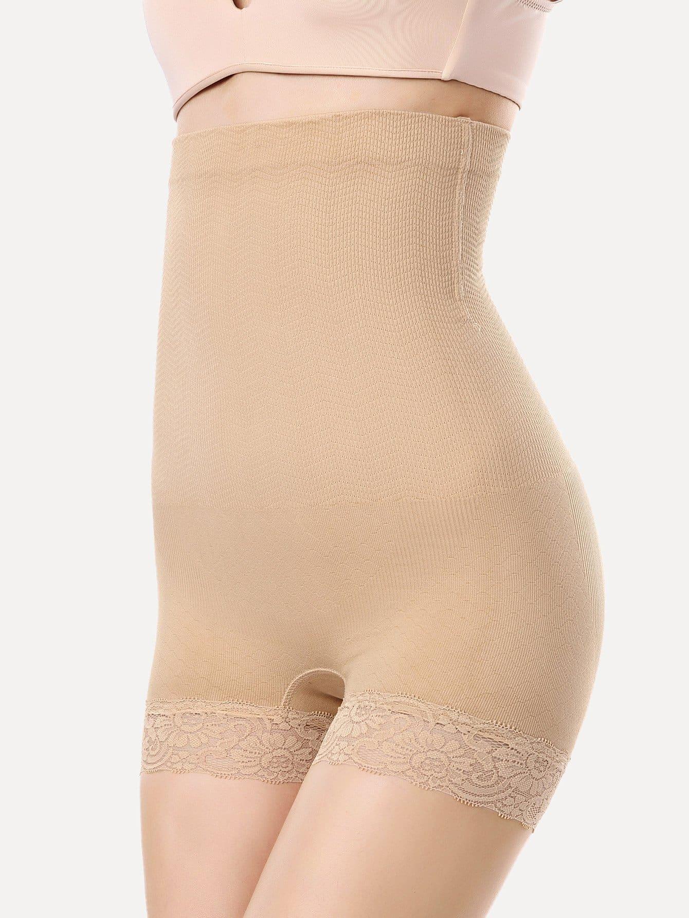 Contrast Lace High Waist Shapewear Shorts black high waist shorts