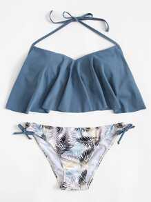 Tie Side Flounce Bikini Set