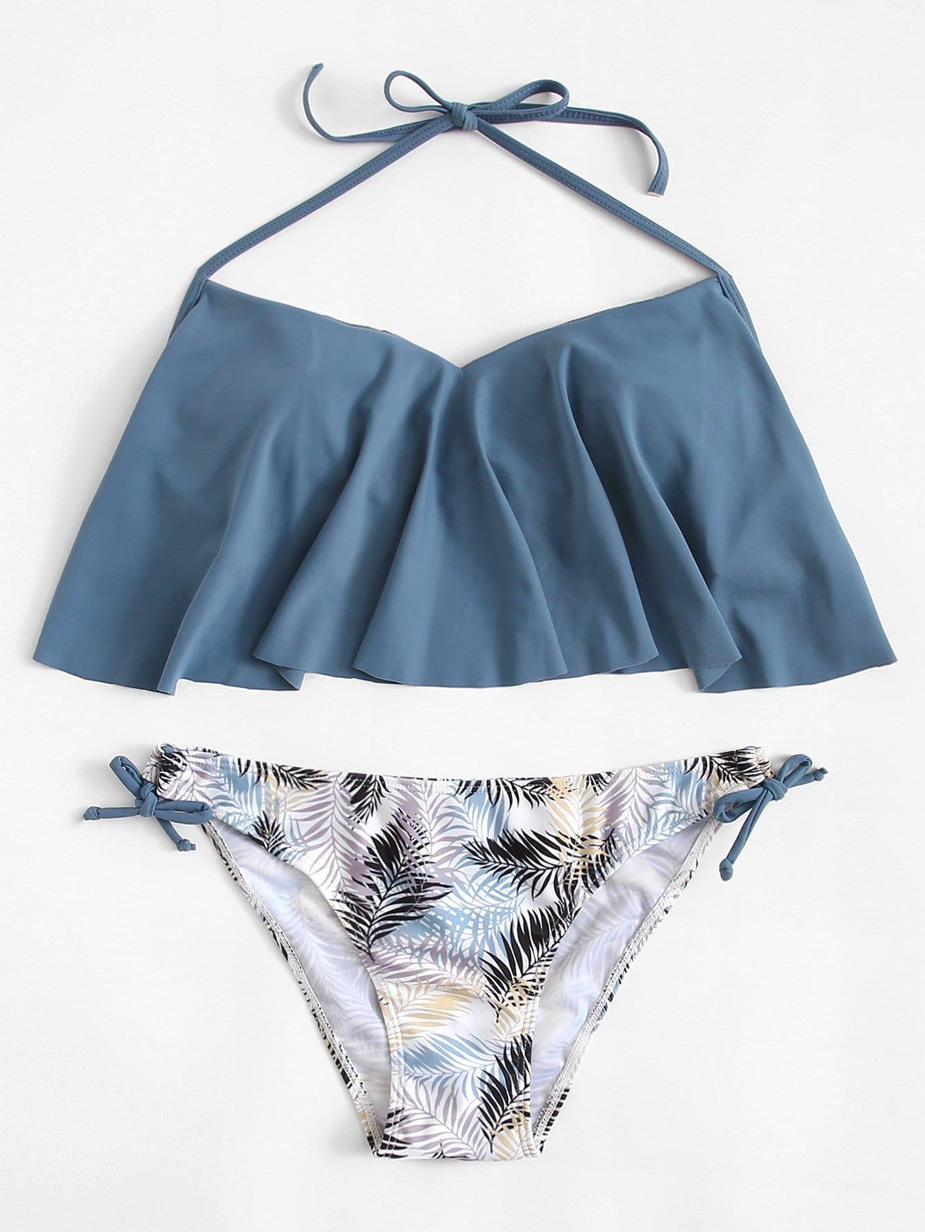Bikini Set mit Band auf den Seiten und Schößchensaum