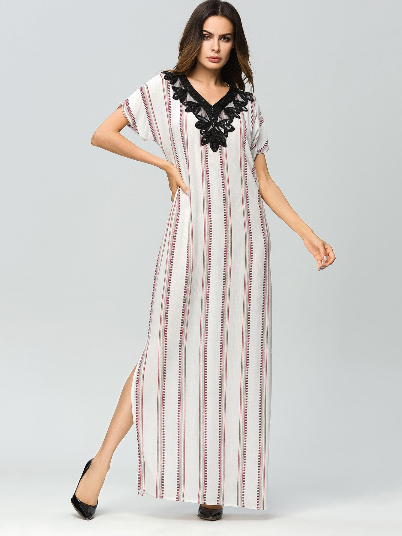 Contrast Sequin Striped Split Side Dress колесные диски yamato sidzuoka v 2 y7225 7x17 5x105 et42 d56 6 wrw ep