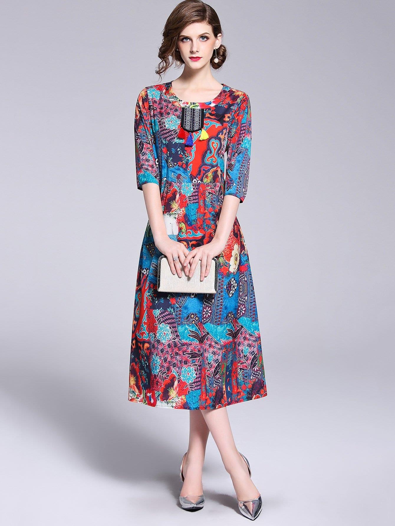 Купить Платье с украшением кисти и с рисунками живописи, null, SheIn