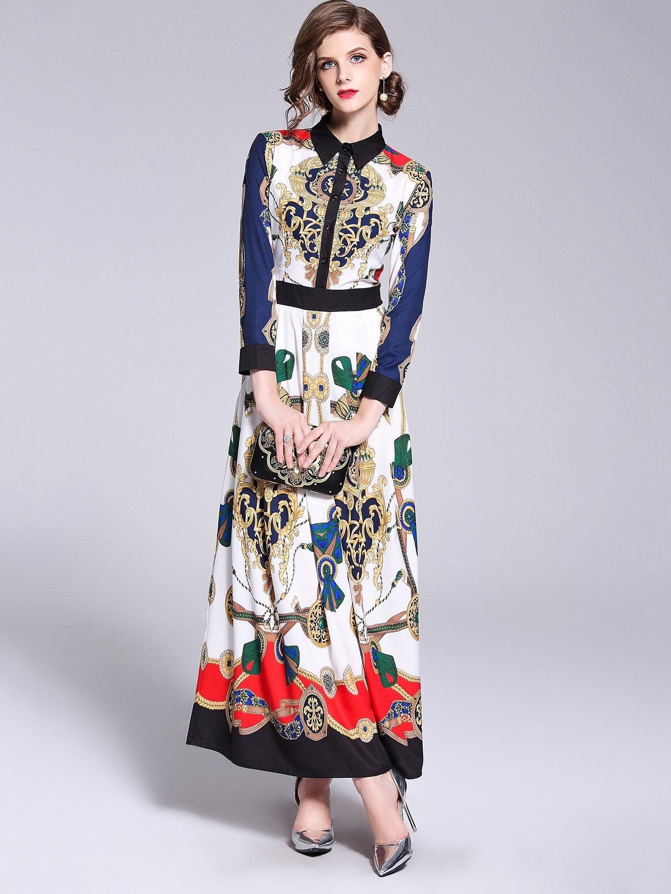 Купить Платье с украшением пуговиц и с рисунками живописи, null, SheIn