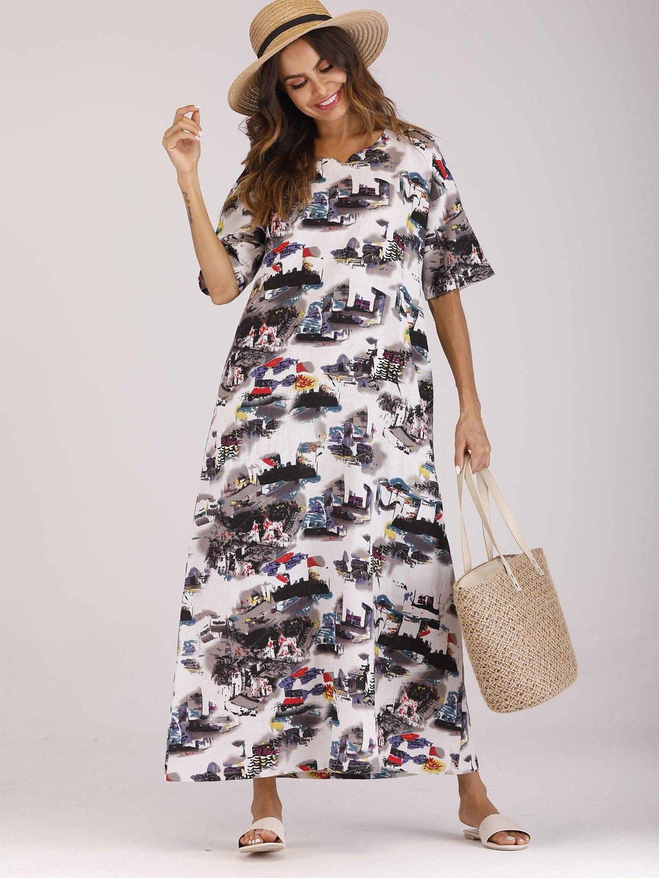 Купить Длинное платье с рисунками живописи и с рисунками кармана, null, SheIn