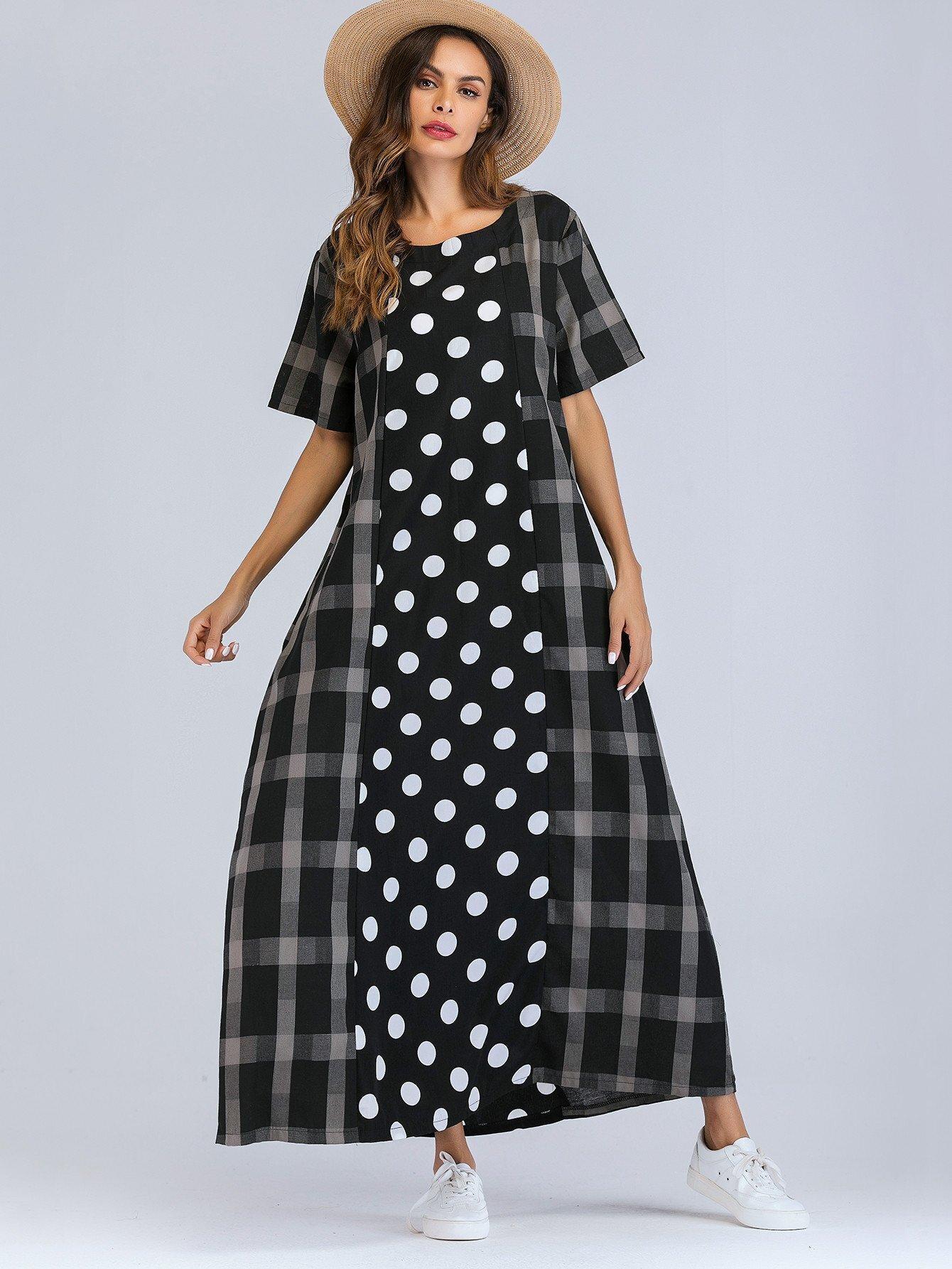 Купить Длинное платье в клетку и с рисунками точк, null, SheIn