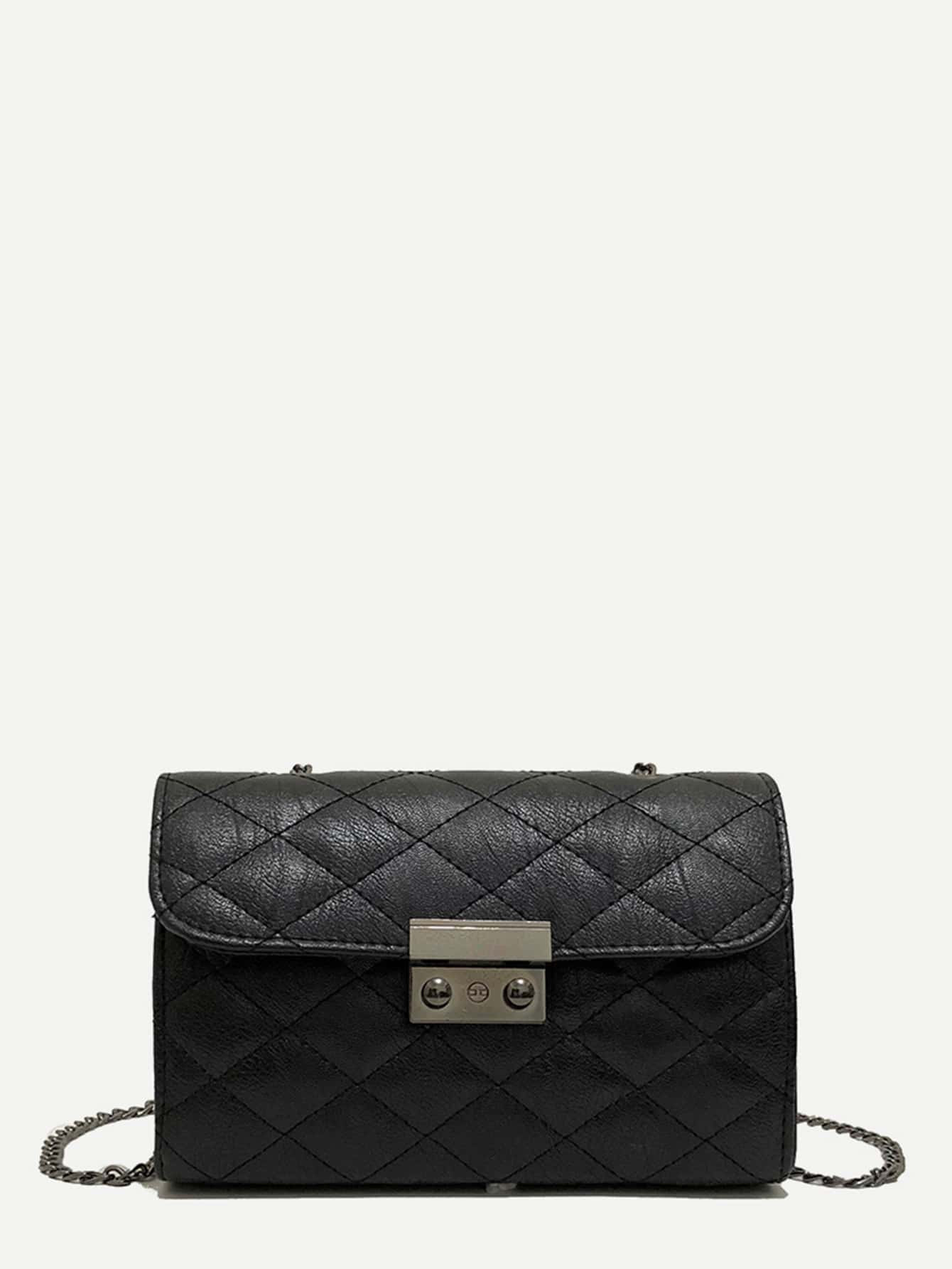 Quilted Chain Bag dark green velvet twistlock closure quilted chain bag