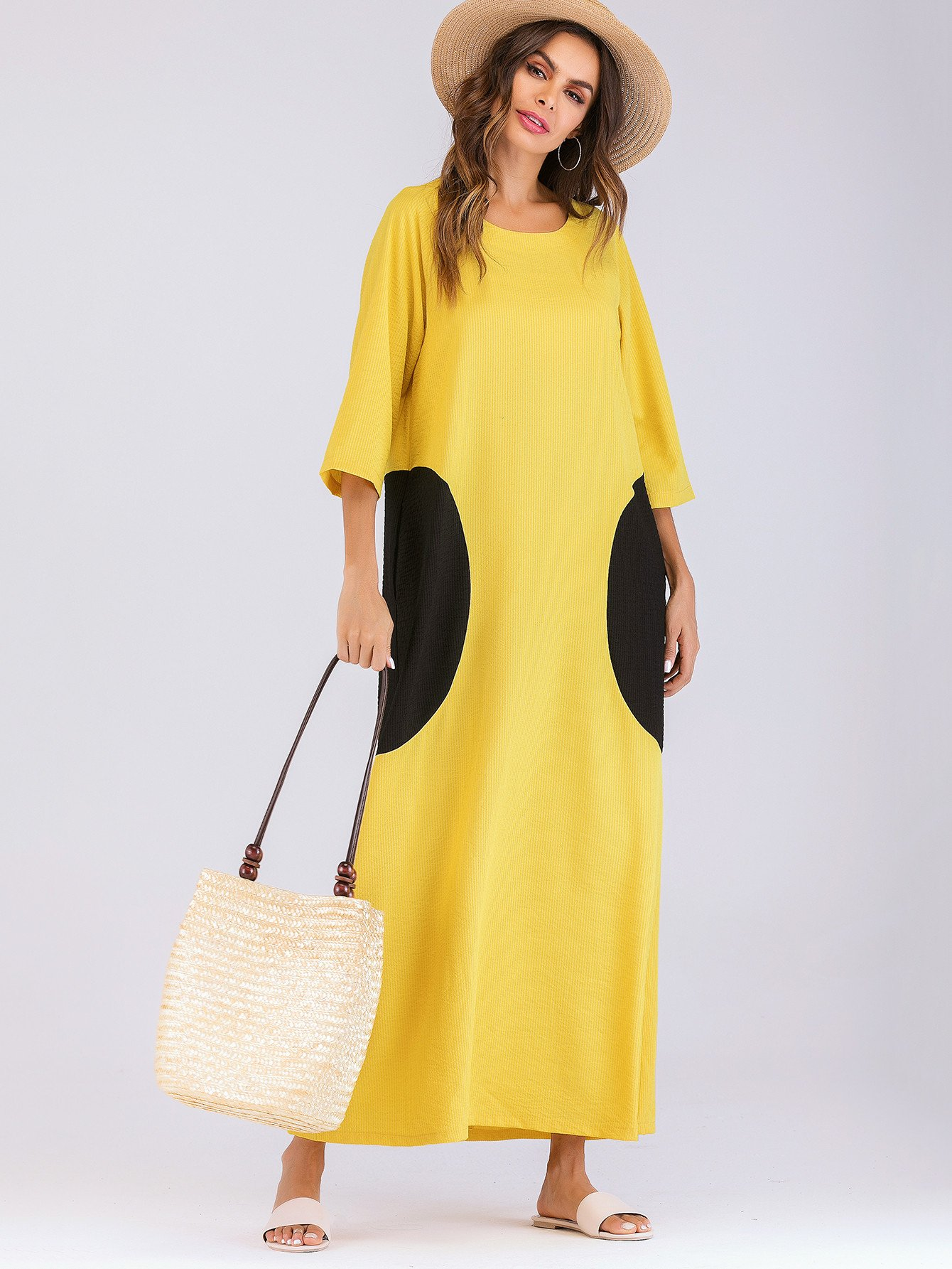 Купить Длинное платье из нескольких цветов и с украшением пуговиц, null, SheIn