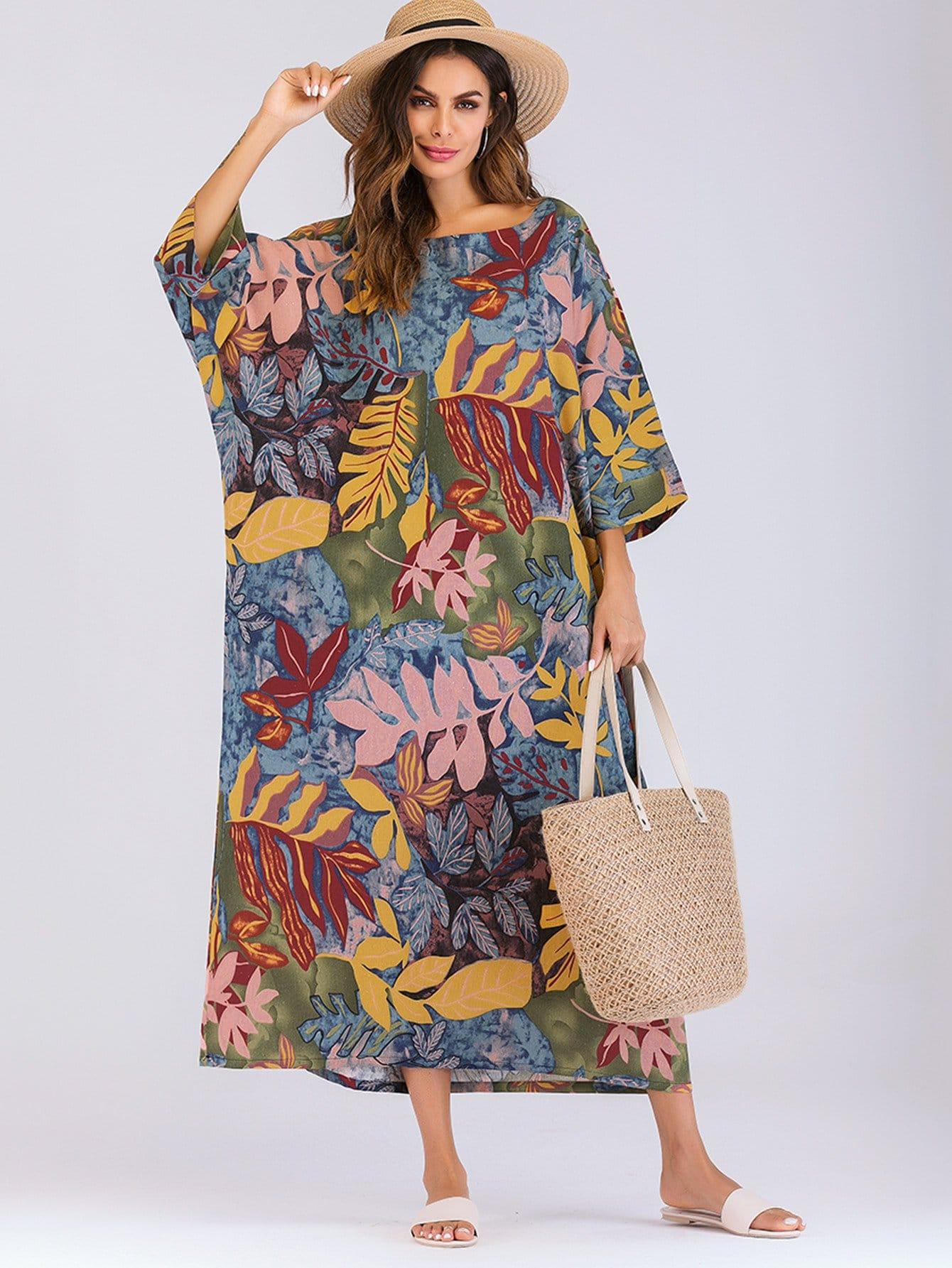 Купить Длинное платье с рисунками листьев, null, SheIn