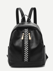 Checkered Detail Curved Top Backpack