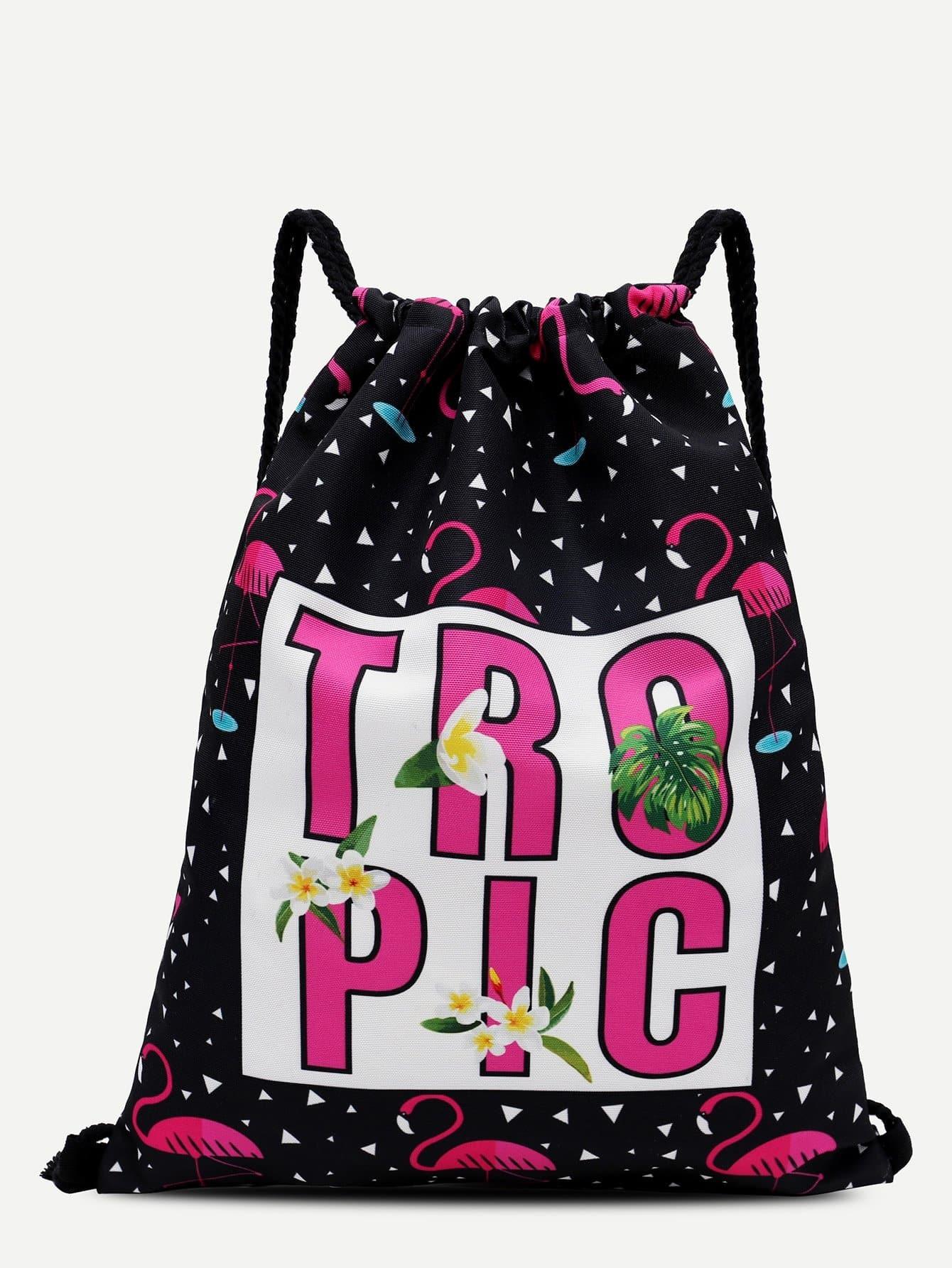 Flamingo Print Drawstring Backpack