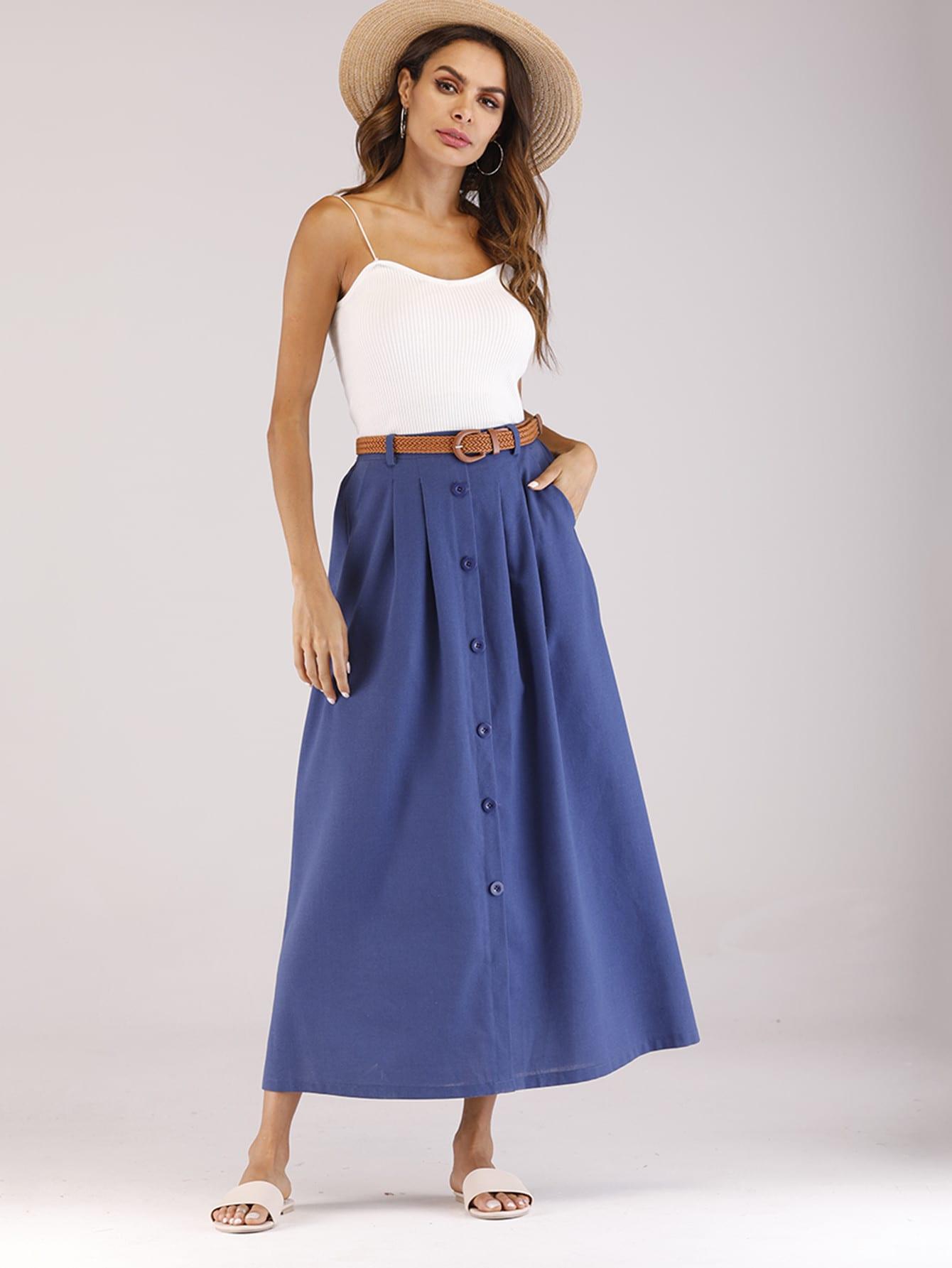 Купить Простая юбка с украшением пуговиц и с поясом, null, SheIn