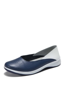 Two Tone Slip On Flats
