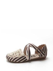 Striped Cross Strap Ballet Flats
