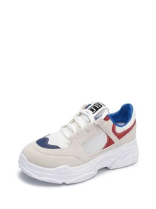 Color Block Chunky Sole Trainers